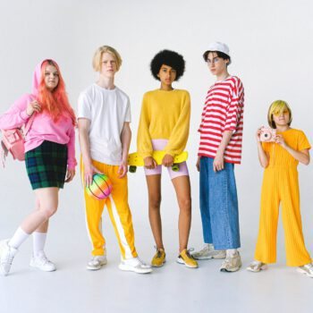 diverse teenager friends in colorful clothes